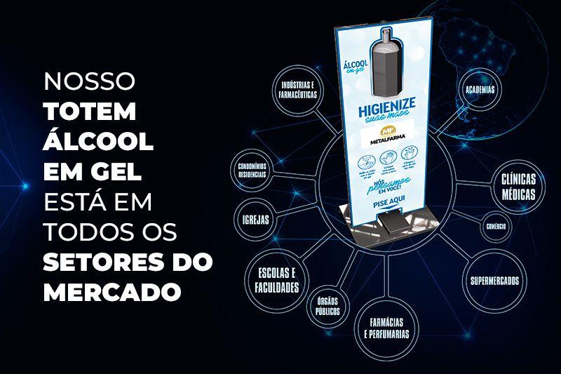 Totem Álcool em Gel Metalfarma é adquirido por todos os segmentos de mercado